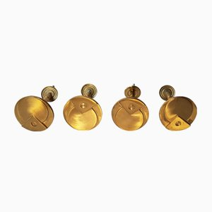 Vintage Art Deco Brass Coat Hooks, Set of 4