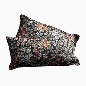 Floral Black-Red-Blue-Green Lumbar Kilim Pillows by Zencef, 2014, Set of 2