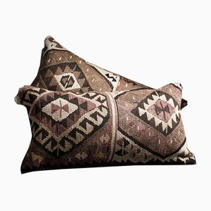 Southwestern Brown-Pink-Yellow-Creamy Kilim Pillows by Zencef, 2014, Set of 2