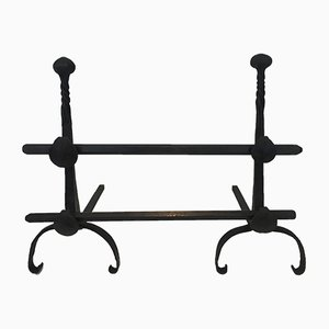 Chenets Antique en Fer Forgé avec Double Barres, Set de 2