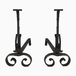Chenets Antique en Fer Forgé, Set de 2