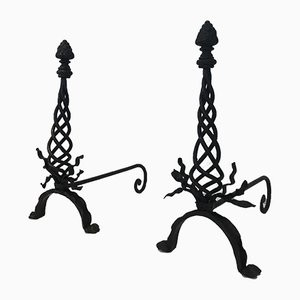 Vintage Twisted Wrought Iron Andirons with Finials, 1940s, Set of 2