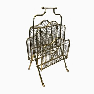 Vintage French Neoclassical Brass Magazine Rack from Maison Jansen, 1940s