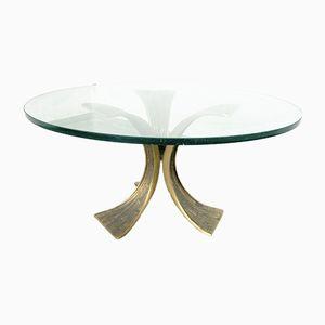 Brutalist Bronze & Glass Coffee Table, 1960s