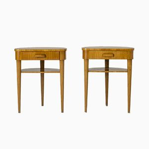 Vintage Swedish Elmwood Side Tables from Bodafors, Set of 2