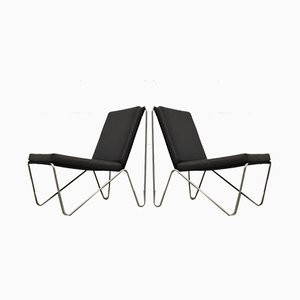 Minimalist Black Bachelor Chairs by Verner Panton for Fritz Hansen, 1960s, Set of 2