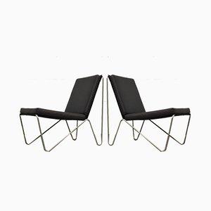 Minimalistische schwarze Bachelor Stühle von Verner Panton für Fritz Hansen, 1960er, 2er Set