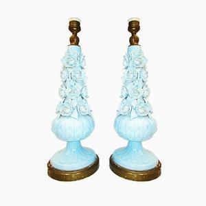 Lámparas de mesa Manises vintage de cerámica, años 20. Juego de 2