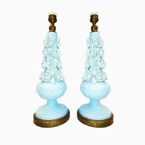 Vintage Manises Ceramic Table Lamps, 1920s, Set of 2