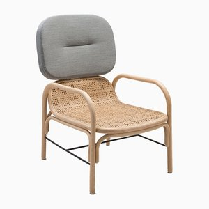 Plus Rattan Armchair with Gabriel Fabrics Mood Grey Cushion by AC/AL Studio for ORCHID EDITION