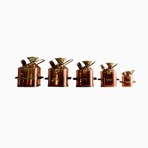 Copper & Brass Petrol Measuring Cans, 1931, Set of 5