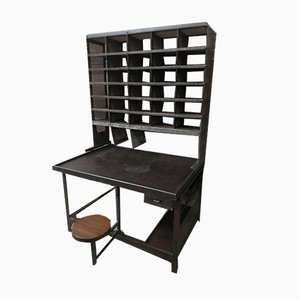 Mid-Century Steel Post Office Table with 30 Lockers