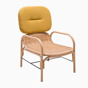 Plus Rattan Armchair with Gabriel Fabrics Medley Yellow Cushion by AC/AL Studio for ORCHID EDITION