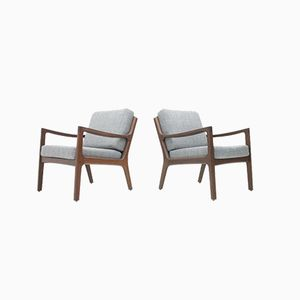 Senator Mahogany Easy Chairs by Ole Wanscher for France & Søn, 1960s, Set of 2