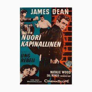 Póster finlandés vintage de la película James Dean Rebel Without A Cause de Engel, 1956