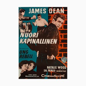 Vintage Finnish James Dean Rebel Without A Cause Film Poster from Engel, 1956