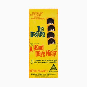 Vintage Australian Beatles Hard Day's Night Daybill Film Poster, 1964