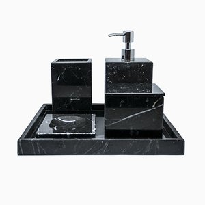 Complete Bathroom Set in Black Marquina Marble from FiammettaV Home Collection