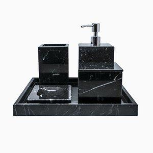 Juego de baño completo de mármol Marquina negro de FiammettaV Home Collection