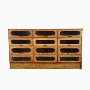 Vintage Oak 12-Drawer Haberdashery Cabinet, 1930s