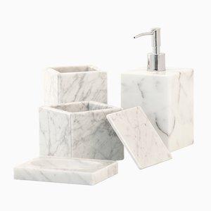 Juego de baño de mármol de Carrara blanco de FiammettaV Home Collection