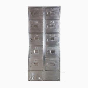 Armadietto vintage in acciaio con 10 scomparti
