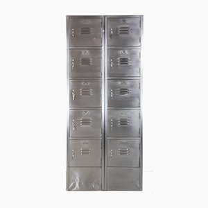 Vintage Steel Locker with 10 Compartments