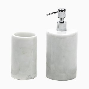 Complete Rounded Bathroom Set in White Carrara Marble from FiammettaV Home Collection