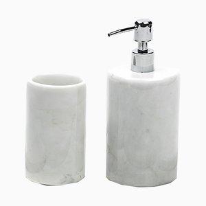Juego de baño completo redondo de mármol de Carrara blanco de FiammettaV Home Collection
