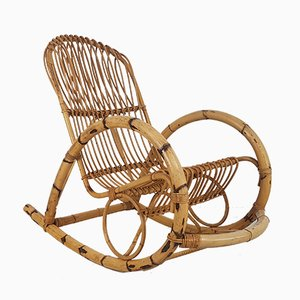 Mid-Century Italian Rattan Rocking Chair