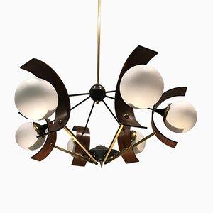 Lámpara de araña italiana Mid-Century de Stilnovo, años 50