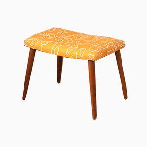 Mid-Century Teak Footstool with Orange Pattern