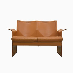 Cognac Leather Korium Sofa by Tito Agnoli for Matteo Grassi, 1980s