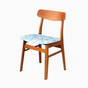 Mid-Century Dutch Teak Chair with Blue Patterned Seat