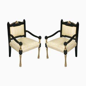 Antike Italienische Lackierte und Vergoldete Samt Armlehnstühle, 2er Set