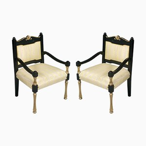 Antique Italian Lacquered and Gilt Velvet Armchairs, Set of 2