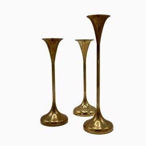 Vergoldete dänische Kerzenständer, 1960er, 3er Set