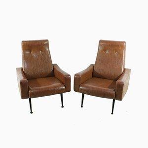Mid-Century Sessel mit Bezug aus künstlichem Krokodilleder, 2er Set