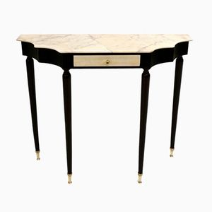 Mid-Century Ebonized Wood and Pink Marble Console Table