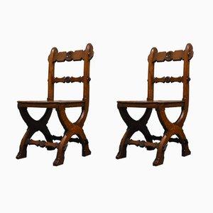 Sedie antiche neogotiche in quercia, set di 2