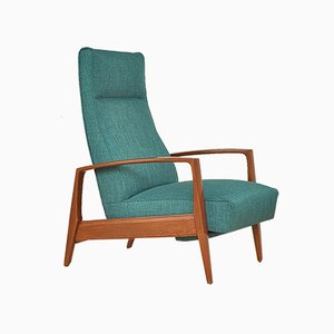 Mid-Century Armchair with Folding Footrest, 1960s