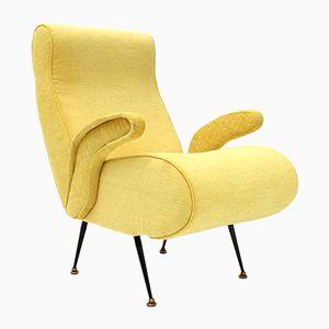 Italienischer Mid-Century Sessel mit gelbem Stoffbezug, 1950er