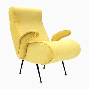 Mid-Century Italian Armchair with Yellow Fabric, 1950s