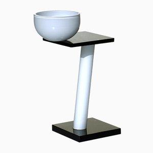 Vaso scultoreo in vetro artistico bianco e nero di Emilio Tadini, Italia