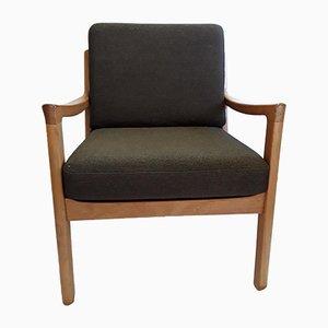 Dänischer Mid-Century Sessel mit Gestell aus Teak & Sitzbezug aus Wolle