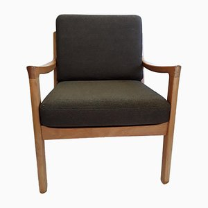Mid-Century Danish Teak and Wool Armchair
