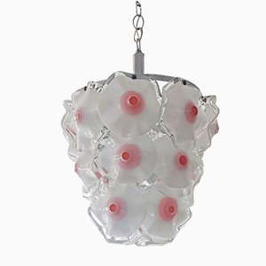 White & Red Murano Glass Ceiling Lamp by Gino Vistosi, 1960s