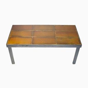 Tavolino da caffè vintage in acciaio con piastrelle in ceramica di Roger Capron