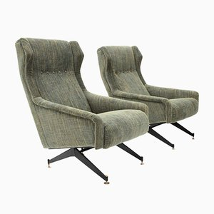 Mid-Century Italian Green Lounge Chairs, 1950s, Set of 2