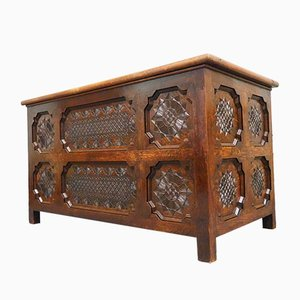 Antique Style Ornate Oak Coffer, 1970s